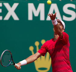 20.04.2012, Country Club, Monte Carlo, MON, ATP World Tour, Rolex Masters, Viertelfinale, im Bild Tomas Berdych (CZE) in action during the quarter final singles match between Andy Murray (GBR) and Tomas Berdych (CZE) // during Rolex Masters tennis tournament quarter Final of ATP World Tour at Country Club, Monte Carlo, Monaco on 2012/04/20. EXPA Pictures © 2012, PhotoCredit: EXPA/ Mitchell Gunn