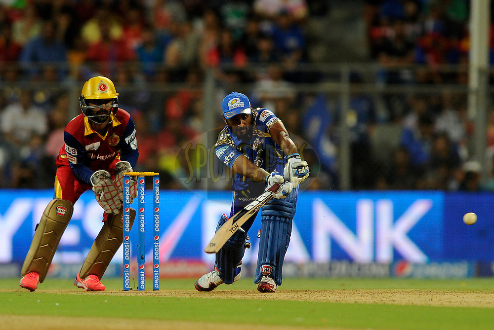 Ambati Rayudu of Mumbai Indians bats during match 46 of the Pepsi IPL 2015 (Indian Premier League) between The Mumbai Indians and The Royal Challengers Bangalore held at the Wankhede Stadium in Mumbai, India on the 10th May 2015.<br /> <br /> Photo by:  Pal Pillai / SPORTZPICS / IPL