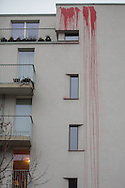 Berlin, Germany - 02.02.2016<br /> <br /> Paint attack on home of the SPD politician Peer Steinbrueck &amp; Eva Hoegl in Berlin-Wedding. According to an claim of responsibility statement published on the left website, the paint attack directed against the planned intensification of asylum law.<br /> <br /> Farbanschlag auf Wohnhaus von der SPD-Politiker Peer Steinbrueck &amp; Eva Hoegl in Berlin-Wedding. Laut einem im Internet veroeffentlichten Bekennerschreiben richtet sich der Farbanschlag gegen die geplante Verschaerfung des Asylrechts.<br /> <br /> Photo: Bjoern Kietzmann