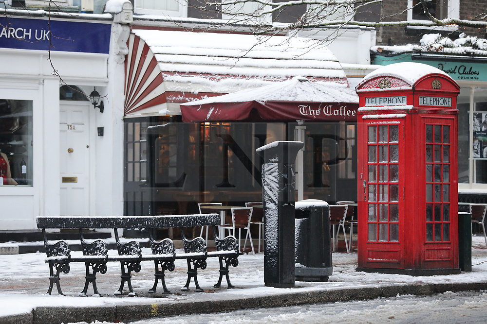 © Licensed to London News Pictures. 01/02/2019. London, UK. Snow covered streets in Hampstead, north London, after snow fell overnight. Photo credit: Rob Pinney/LNP