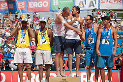 "22.07.2012, Klagenfurt, Strandbad, AUT, Beachvolleyball World Tour Grand Slam 2012, im Bild vlnr Pedro Salgado Petro 2 BRA / Marcio Araujo Marcio 1 BRA, Reinder Nummerdor 1 NED / Richard Schuil 2 NED, Phil Dalhausser USA 2 USA / Todd Rogers 1 USA// during the A1 Beachvolleyball Grand Slam 2012 at the ""Strandbad"" Klagenfurt, Austria on 2012/07/22. EXPA Pictures © 2012, EXPA Pictures © 2012, PhotoCredit: EXPA/ Mag. Gert Steinthaler"