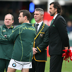 DURBAN, SOUTH AFRICA - JUNE 09, John McFarland with Johann van Graan Forwards Coach Springbok coach Heyneke Meyer  and Victor Matfield Supersport rugby commentator during the 1st Castle Lager Incoming Tour test match between South Africa and England from Mr Price Kings Park on June 09, 2012 in Durban, South Africa<br /> Photo by Steve Haag / Gallo Images
