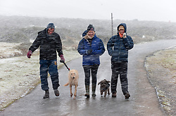 © Licensed to London News Pictures. 29/09/2020. Hay-on-Wye, Powys, Wales, UK. A sudden violent blizzard catcheswalkers unawares at Hay Bluff in the Brecon Beacons National Park, in Powys, Wales, UK. Photo credit: Graham M. Lawrence/LNP