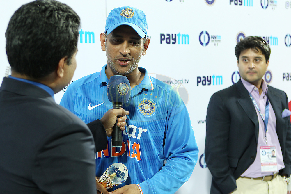 MS Dhoni, captain, of India interviewed after the match during the 2nd Paytm Freedom Trophy Series One Day International ( ODI ) match between India and South Africa held at the Holkar Stadium in Indore, India on the 14th October 2015<br /> <br /> Photo by Ron Gaunt/ BCCI/ Sportzpics
