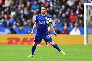 Leicester City defender Christian Fuchs (28) during the Premier League match between Leicester City and Stoke City at the King Power Stadium, Leicester, England on 1 April 2017. Photo by Jon Hobley.