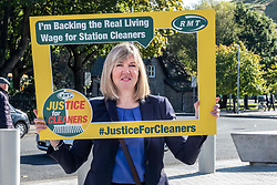 Pictured: Alison Johnstone, Scottish Grreens MSP joined the protest<br /><br />Richard Leonard, leader of Scottish labour, Patrick Harvie, co-leader of the Scotrtish Greens, joined other MSPs and memberes of the RMT union today to protest against Abellio contract. The rail union were demonstrating outside the Scottish Parliament in a call for the termination of privateer Abellio ScotRail's contract.<br /><br />Ger Harley | EEm 2 October 2019