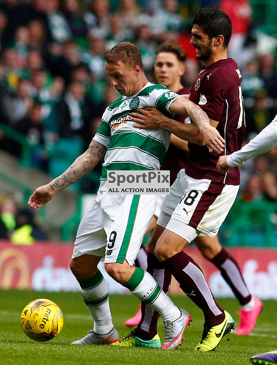Celtic v Hearts....Juanma Delgado holds back Leigh Griffiths...(c) STEPHEN LAWSON | SportPix.org.uk