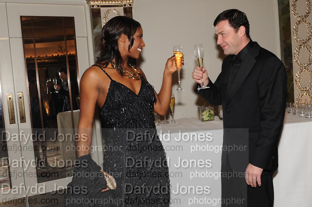 DENISE LEWIS; STEVE FINAN, The Cartier Racing Awards. The Ballroom, Dorchester hotel. Park Lane. London. 15 November 2011. <br /> <br />  , -DO NOT ARCHIVE-© Copyright Photograph by Dafydd Jones. 248 Clapham Rd. London SW9 0PZ. Tel 0207 820 0771. www.dafjones.com.