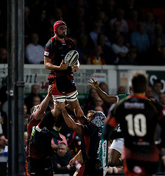 Dragons' Cory Hill claims the high ball<br /> <br /> Photographer Simon King/Replay Images<br /> <br /> Guinness PRO14 Round 1 - Dragons v Benetton Treviso - Saturday 1st September 2018 - Rodney Parade - Newport<br /> <br /> World Copyright © Replay Images . All rights reserved. info@replayimages.co.uk - http://replayimages.co.uk