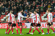 Aiden McGeady of Sunderland FC celebrating his team's first goal during the EFL Sky Bet League 1 match between Sunderland and Burton Albion at the Stadium Of Light, Sunderland, England on 26 November 2019.