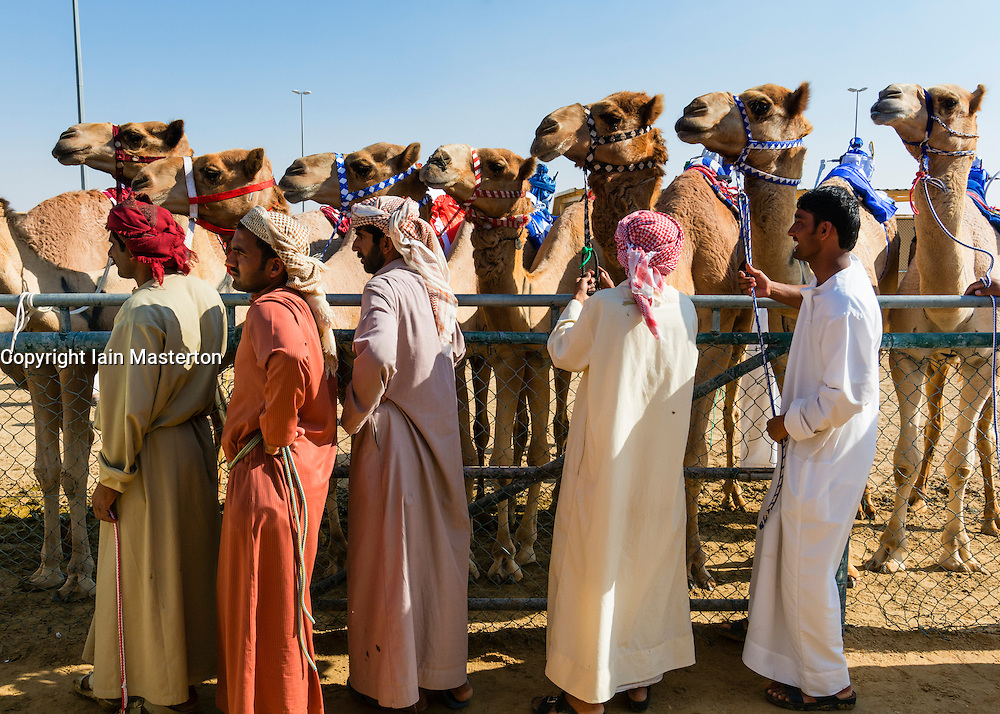 camel races at Dubai Camel Racing Club at Al Marmoum in Dubai United Arab Emirates