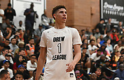 No Shnacks Guard LaMelo Ball (1) observes during a Drew League basketball game, Saturday, June 8, 2019, in Los Angeles.  (Dylan Stewart/Image of Sport)