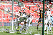 Morpeth Town Chris Swailes scores the equaliser  during the FA Vase match between Hereford FC  and Morpeth Town at Wembley Stadium, London, England on 22 May 2016. Photo by Dennis Goodwin.