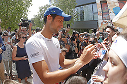 BELGRADE (SERBIA), May, 2, 2018  Former World number one tennis player Novak Djokovic signs the autographs sfter open training session in Belgrade, Serbia on May 2, 2018. (Credit Image: © Predrag Milosavljevic/Xinhua via ZUMA Wire)