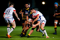 Beck Cutting of Worcester Cavaliers is tackled - Mandatory by-line: Robbie Stephenson/JMP - 24/09/2018 - RUGBY - Sixways Stadium - Worcester, England - Worcester Cavaliers v Sale Jets - Premiership Rugby Shield