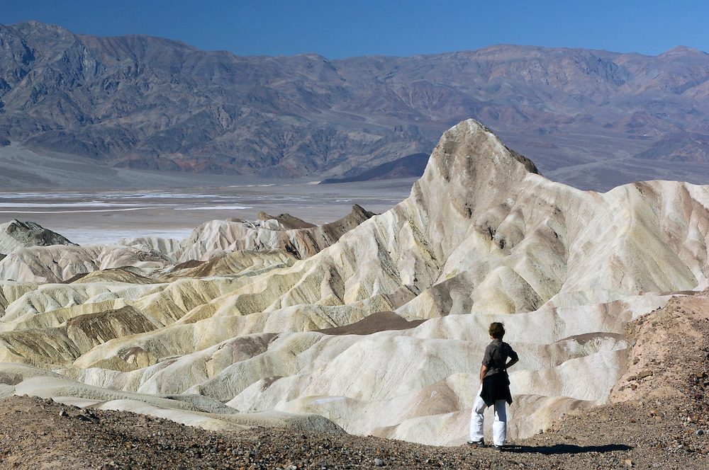 Person standing at Zabriskie Point, Death Valley National Park, California, United States of America