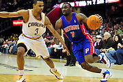 Feb. 9, 2011; Cleveland, OH, USA; Detroit Pistons shooting guard Ben Gordon (7) drives around Cleveland Cavaliers point guard Ramon Sessions (3) during the third quarter at Quicken Loans Arena. The Pistons beat the Cavaliers 103-94 for Cleveland's 26th loss in a row. Mandatory Credit: Jason Miller-US PRESSWIRE