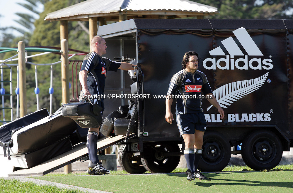 Keith Robinson and Piri Weepu unload the training gear ready for the All Blacks training session held at Waitakere Stadium, Auckland, on Tuesday 29 May 2007. Photo: Andrew Cornaga/PHOTOSPORT<br />