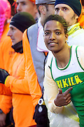 Runner warming up at start race at the San Silvestre Marathon 2012 in Madrid