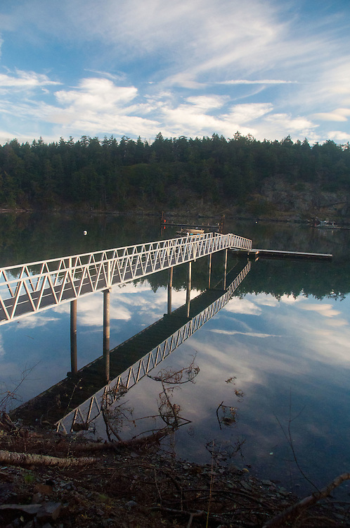 Private Dock at Reid Harbor in Morning Light, Stuart Island, Washington, US