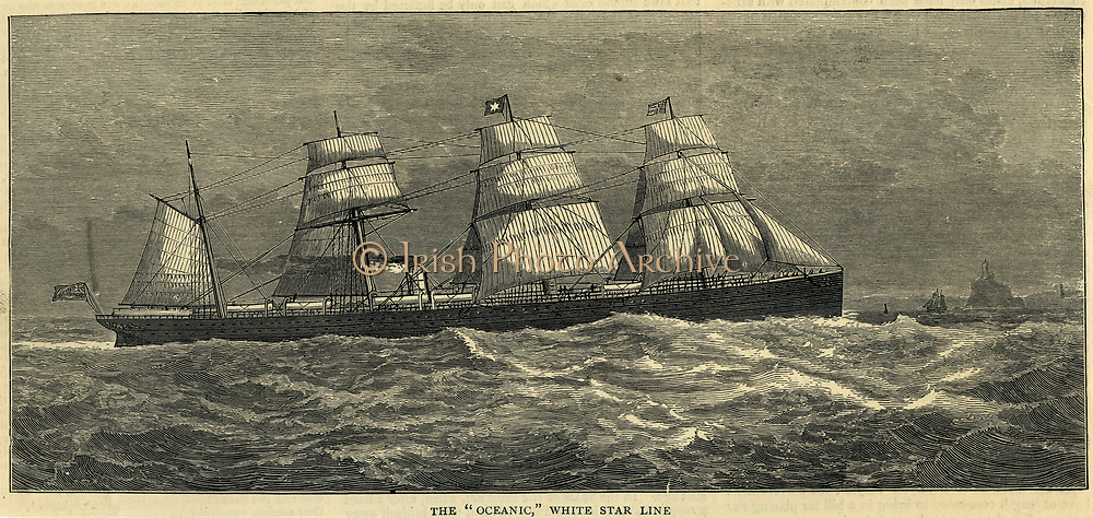 RMS 'Oceanic', White Star Line vessel, inservice 1871-1895. Engraving