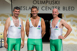 Sadik Mujkic, Milan Jansa, Jani Klemencic of Slovenian rowing team 25-years after Olympic medals in Barcelona 1992 before practice session preparing for World Rowing Masters Regatta Bled 2017, on July 13, 2017 at Lake Bled, Slovenia. Photo by Vid Ponikvar / Sportida