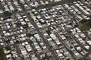 Aerial of crowed barrios outside San Juan, Puerto Rico.