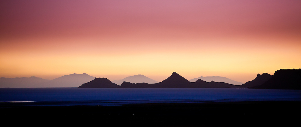 Dusk on the edge of the Salar de Uyuni on Bolivia's Altiplano.
