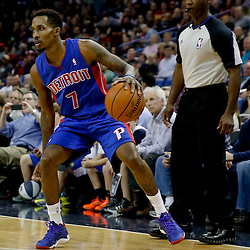 Dec 11, 2013; New Orleans, LA, USA; Detroit Pistons point guard Brandon Jennings (7) against the New Orleans Pelicans during the second half at New Orleans Arena. The Pelicans defeated the Pistons 11-106 in overtime. Mandatory Credit: Derick E. Hingle-USA TODAY Sports