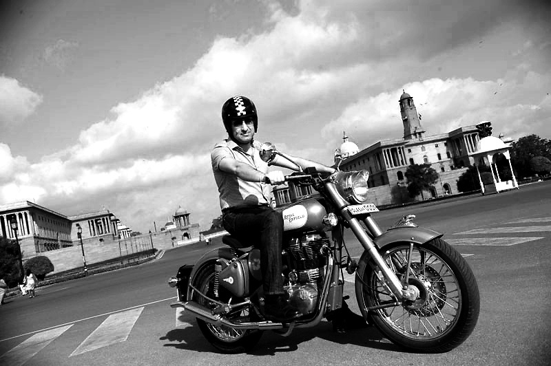 Siddharth Lal MD & CEO of Royal Enfiels bikes with his Enfield 30cc classic at Raj Path in New Delhi. Photo by Shome Basu