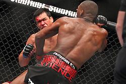 Toronto, Ontario, Canada - December 10, 2011: UFC Light Heavyweight Champion Jon Jones (black trunks) and challenger Lyoto Machida (red trunks) during UFC 140 at the Air Canada Centre in Toronto, Canada.
