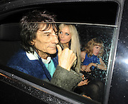 27.OCTOBER.2011 LONDON<br /> <br /> RONNIE WOOD AND NEW GIRLFRIEND NICOLA SARGENT ARRIVING AT JULIE'S RESTAURANT IN NOTTING HILL WITH 2 OTHER FEMAIL FRIENDS WITH ONE OF THEM FALLING OVER ON THE WAY IN, THEY THEN LEFT AND RONNIE AND NICOLA HEADED BACK TO A PRIVATE ADDRESS WITH MATCHING BAGS FROM THE SAME HOTEL.<br /> <br /> BYLINE: EDBIMAGEARCHIVE.COM<br /> <br /> *THIS IMAGE IS STRICTLY FOR UK NEWSPAPERS AND MAGAZINES ONLY*<br /> *FOR WORLD WIDE SALES AND WEB USE PLEASE CONTACT EDBIMAGEARCHIVE - 0208 954 5968*