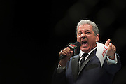 LAS VEGAS, NV - JULY 7:  Bruce Buffer announces Eddie Alvarez during UFC Fight Night at MGM Grand Garden Arena on July 7, 2016 in Las Vegas, Nevada. (Photo by Cooper Neill/Zuffa LLC/Zuffa LLC via Getty Images) *** Local Caption *** Bruce Buffer
