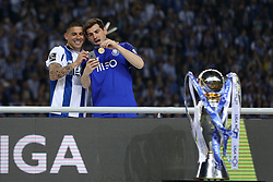 May 6, 2018 - Porto, Porto, Portugal - Porto's Spanish goalkeeper Iker Casillas (R) and Porto's Uruguayan defender Maxi Pereira (L) celebrates the title of national champion during the Premier League 2017/18 match between FC Porto and CD Feirense, at Dragao Stadium in Porto on May 6, 2018. (Credit Image: © Dpi/NurPhoto via ZUMA Press)