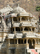 The exterior of the main carved marble Jain temple at Ranakpur, Rajasthan, India