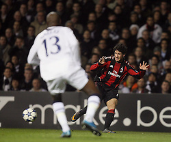 09.03.2011, White Hart Lane, London, ENG, UEFA CL, Tottenham Hfc vs AC Milan, im Bild AC Milan's Alexandre Pato squares the ball  in front of Gallas that will make a great save on the line  during Tottenham Hfc vs AC Milan for the last 16 round of the UCL at White Hart Lane   in London on 09/03/2011. EXPA Pictures © 2011, PhotoCredit: EXPA/ IPS/ Marcello Pozzetti +++++ ATTENTION - OUT OF ENGLAND/UK and FRANCE/FR +++++