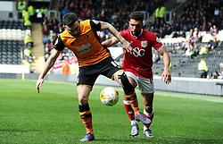 Scott Golbourne of Bristol City closes down Robert Snodgrass of Hull City - Mandatory by-line: Dougie Allward/JMP - 02/04/2016 - FOOTBALL - KC Stadium - Hull, England - Hull City v Bristol City - Sky Bet Championship