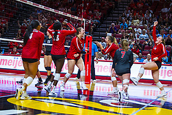 BLOOMINGTON, IL - September 14: Redbirds celebrate during a college Women's volleyball match between the ISU Redbirds and the University of Central Florida (UCF) Knights on September 14 2019 at Illinois State University in Normal, IL. (Photo by Alan Look)