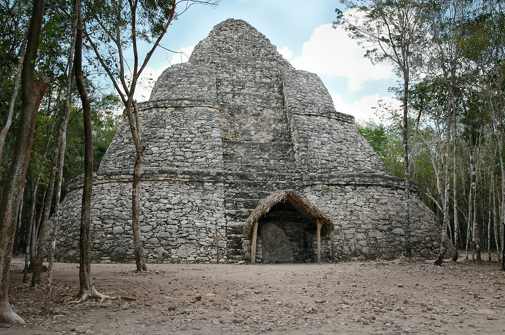 The Oval Temple (Xaibe) at Coba's archeological site in Mexico.