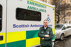 Pictured: John Alexander from Scottish Ambulance Service <br /> The &quot;In Town, Slow Down&quot;  road safety campaign was launched today in Edinburgh to encourage drivers to watch their speed in built-up areas, amid figures showing someone is stopped for speeding in Scotland every nine minutes. Superintendent Fraser Candlish from Police Scotland, and John Alexander from Scottish Ambulance Service were on hand to help with the launch<br /> Ger Harley | EEm 7 February 2017