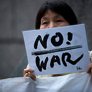 TOKYO, JAPAN - JUNE 6, 2016 : Anti-U.S. base protesters gather in front of Ministry of Defense to protest against the U.S. Base in Okinawa regarding the latest incident of alleged drunk driving in Okinawa prefecture of a U.S. Navy officer, Tokyo, Japan, Monday, June 6, 2016. The police arrested Petty Officer Aimee Mejia early on Sunday for driving on a highway in Kadena Town, Okinawa prefecture under the influence of alcohol and collided with 2 cars head-on.<br /> <br /> Photo: Richard Atrero de Guzman