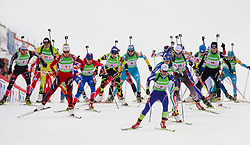 Tina Bachmann of Germany, Kari Eie of Norway, Svetlana Sleptsova of Russia, Marie Laure Brunet of France,  Andreja Mali of Slovenia during the Mixed 2x6 + 2x7,5km relay of the e.on IBU Biathlon World Cup on Saturday, December 19, 2010 in Pokljuka, Slovenia. The fourth e.on IBU World Cup stage is taking place in Rudno polje - Pokljuka, Slovenia until Sunday December 19, 2010. (Photo By Vid Ponikvar / Sportida.com)