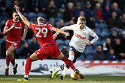 Nottingham Forest defender Yohan Benalouane (29) gets the tackle on Preston North End midfielder Brad Potts (44) during the EFL Sky Bet Championship match between Preston North End and Nottingham Forest at Deepdale, Preston, England on 16 February 2019.