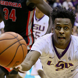 Jan 26, 2016; Baton Rouge, LA, USA; LSU Tigers guard Antonio Blakeney (2) attempts to save a loose ball against the Georgia Bulldogs during the first half of a game at the Pete Maravich Assembly Center. Mandatory Credit: Derick E. Hingle-USA TODAY Sports