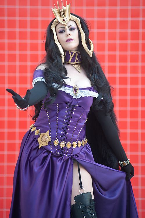London, UK - 26 May 2013: Laura Cranston dressed as Liliana Vess from the Magic the Gathering card game poses for a picture during the London Comic Con 2013 at Excel London. London Comic Con is the UK's largest event dedicated to pop culture attracting thousands of artists, celebrities and fans of comic books, animes and movie memorabilia.