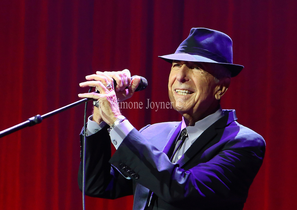 Leonard Cohen performs live on stage at O2 Arena on September 15, 2013 in London, England.  (Photo by Simone Joyner)