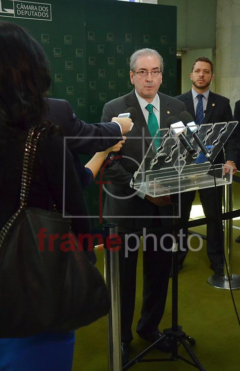 Brasilia (DF), 18/06/2015 - O presidente da Câmara dos Deputados, Eduardo Cunha, durante entrevista coletiva, fala sobre regra para aposentadoria. Foto: Renato Costa / Frame