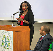 Houston ISD trustee Wanda Adams comments during a ribbon cutting ceremony at South Early College High School, October 8, 2016.