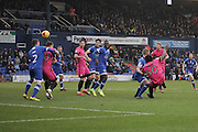 Southend United striker Nile Ranger (50) scores the opening goal of the game to make the score 1-0 during the EFL Sky Bet League 1 match between Oldham Athletic and Southend United at Boundary Park, Oldham, England on 17 December 2016. Photo by Simon Brady.