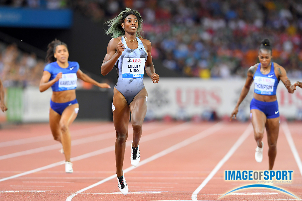 Shaunae Miller-Uibo (BAH) wins the women's 200m in 21.74 in the IAAF Diamond League final during the Weltkasse Zurich at Letzigrund Stadium, Thursday, Aug. 29, 2019, in Zurich, Switzerland. (Jiro Mochizuki/Image of Sport)